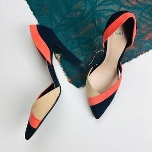 Zara color block d'orsay heel